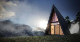Треугольный дом на утесе вымышленного фьорда (17 фото)