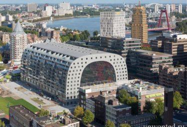Панорамный вид на городской рынок Роттердама