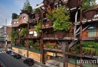 Необычный городской дом среди леса