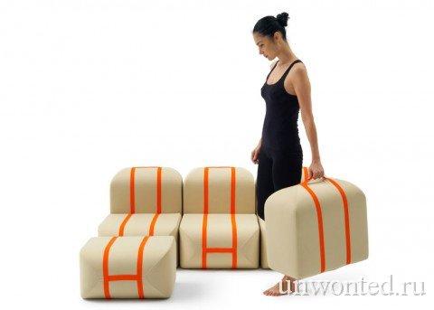 Модули необычного дивана легко переносить