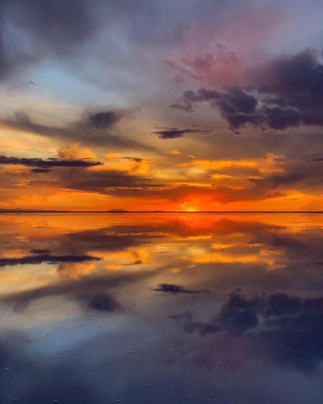 Солончак Уюни на закате