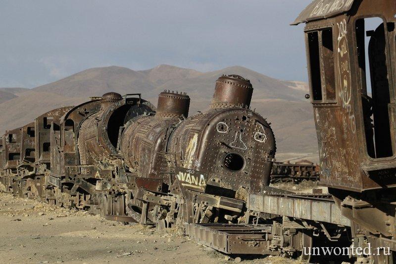 Кладбище старых паровозов Солончак Уюни