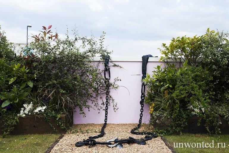 Дворик с садом глициний на плавучем доме