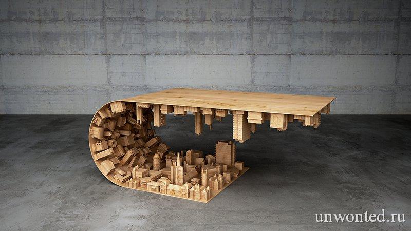 Необычный кофейный столик - Городская волна