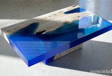 Журнальный столик из мрамора и смолы