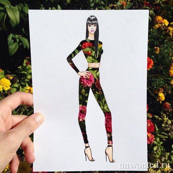 Необычный костюм на фоне цветов - эскиз Эдгара Артиса