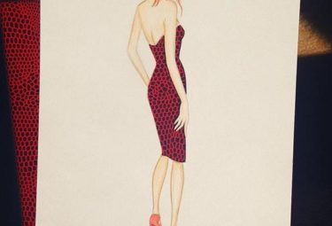 Необычное платье на фоне обработанной кожи - эскиз Эдгара Артиса