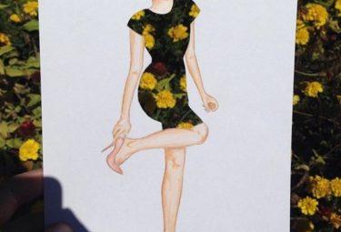 Необычное платье на фоне цветочной клумбы - эскиз Эдгара Артиса