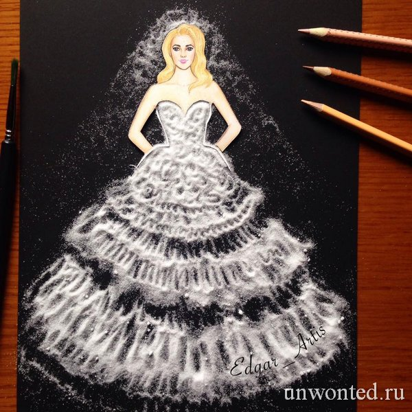 Необычное платье из соли - эскиз Эдгара Артиса