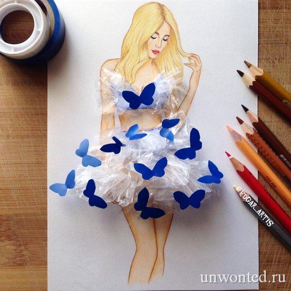 Необычное платье из скотча и изоленты - эскиз Эдгара Артиса
