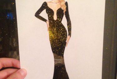 Необычное платье на ночном фоне - эскиз Эдгара Артиса