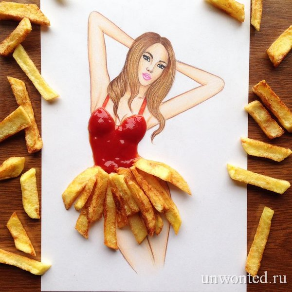 Необычное платье из картофеля фри с кетчупом - эскиз Эдгара Артиса