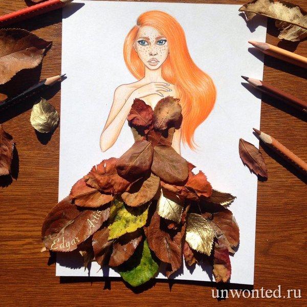 Необычное платье из листьев - эскиз Эдгара Артиса