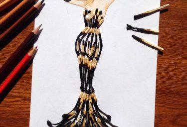 Необычное платье из спичек - эскиз Эдгара Артиса