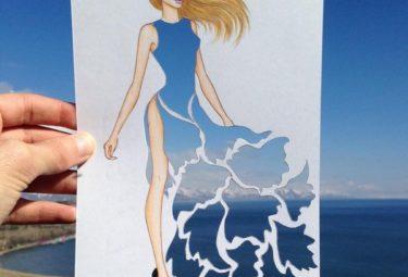 Необычное платье на фоне неба и моря - эскиз Эдгара Артиса