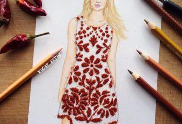 Необычное платье из молотого красного перца - эскиз Эдгара Артиса