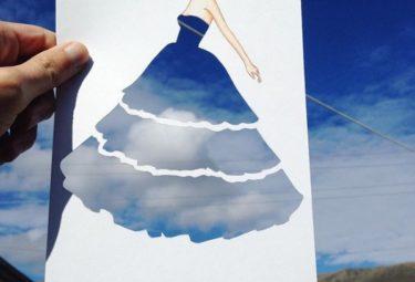 Необычное платье на фоне неба - эскиз Эдгара Артиса