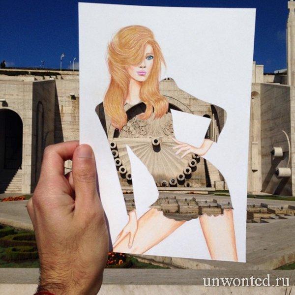 Необычные принты на платье от фасада здания - эскиз Эдгара Артиса