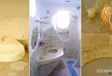 Краны и смесители в доме-ракушке сделаны из раковин и караллов