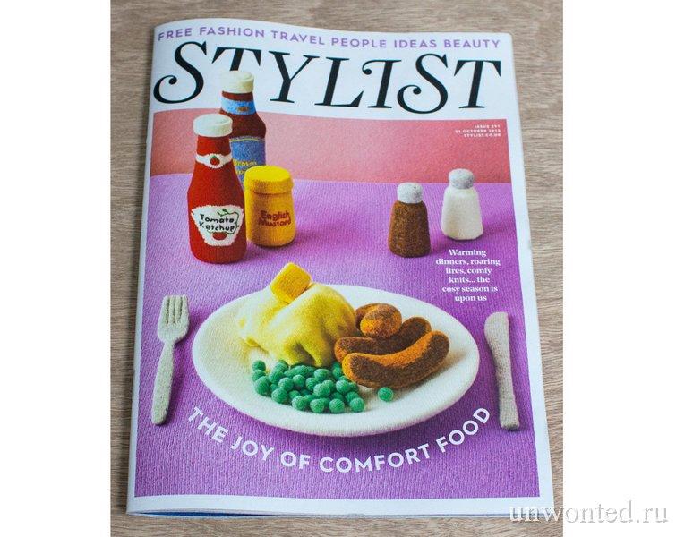 """Обложка журнала """"Stylist"""" с вязанной Комфортной едой"""