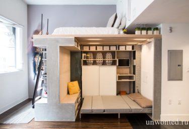 Квартира лофт - гостевая кровать и кровать на втором уровне