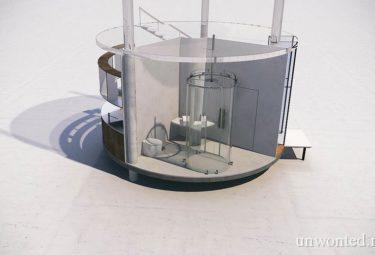 Душевая кабина, повторяющая цилиндрическую форму здания