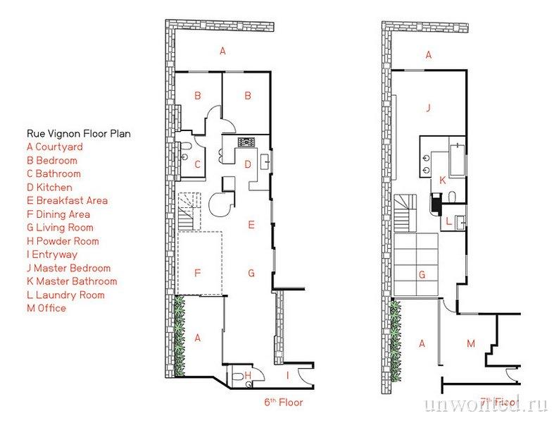 Поэтажный план квартиры-дуплекс в Париже