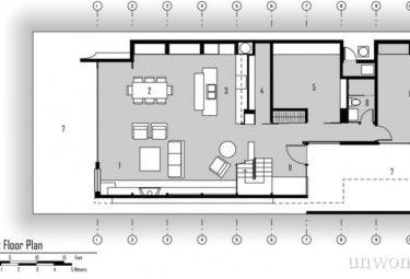 Плавающий дом Fennell Residence - план первого этажа