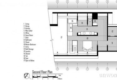Плавающий дом Fennell Residence - план второго этажа - лофта