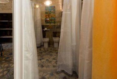 Стеклянные перегородки со шторами отделяют санузел в современном лофте