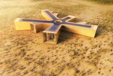 Фотоэлектрические панели на крыше дома в пустыне