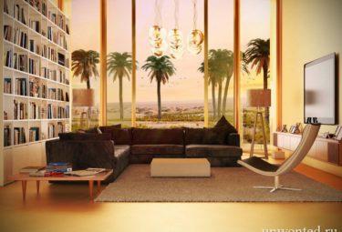 Раздвижные двери в гостиной экодома в пустыне