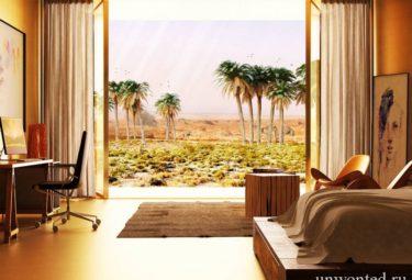 Понарамный вид из спальни эко дома в пустыне
