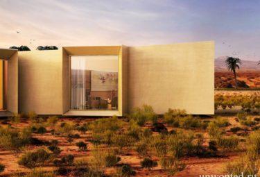 Окно в спальню дома в пустыне