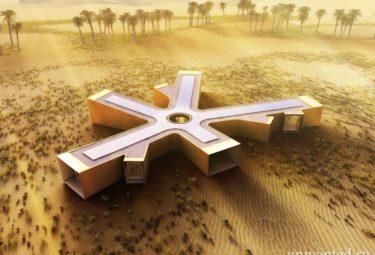 Эко дом в пустыне похожий на снежинку