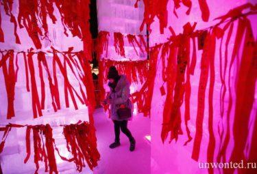 Ленточки желаний на фестивале ледовых скульптур