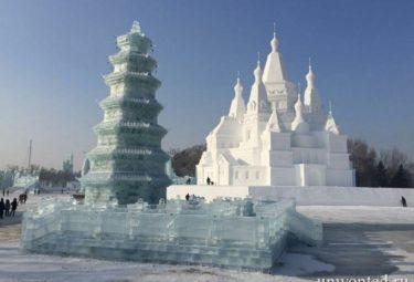 Площадка огромных снежных и ледовых скульптур
