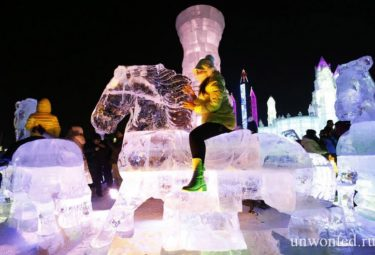 Туристы фотографируются на ледовой скульптуре лошади