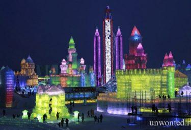 Ночное освещение фестиваля ледовых скульптур в Харбине