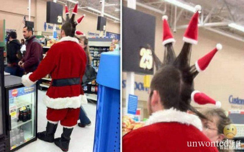 Необычные мужские прически на новый год - Санта