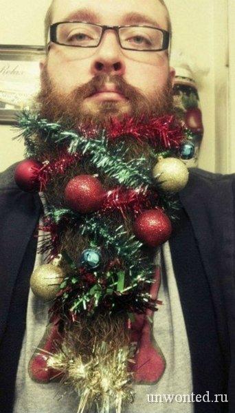 Елка на бороде - новогоднее украшение бороды