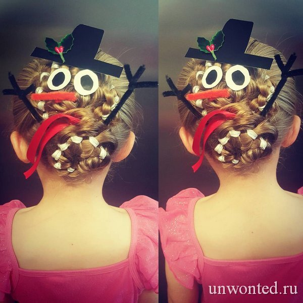 Новогодняя прическа девочки - снеговик