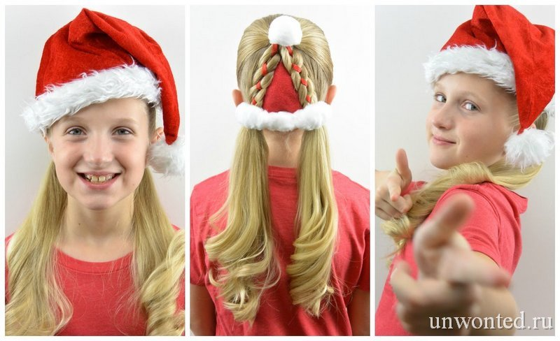 Новогодняя прическа девочки - шапочка Санты