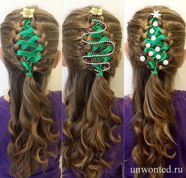 Необычные прически девочкам - елочка с зеленой лентой
