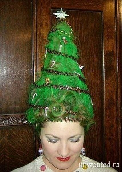 Необычная прическа на новый год - зеленая елка