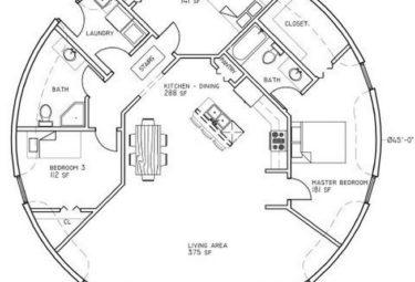 Проект дома геодезического купола с открытой планировкой по центру