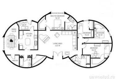 План дома геодезического купола из трех последовательно соединенных модулей
