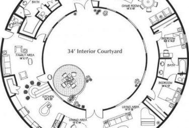 Проект дома геодезического купола с общей зоной в центре