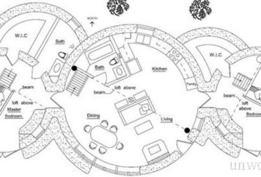 План дома из нескольких геодезических куполов