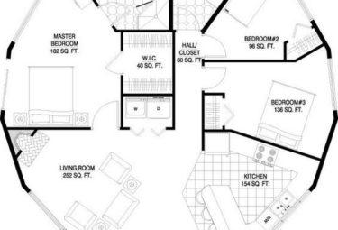 Проект дома геодезического купола с тремя спальнями